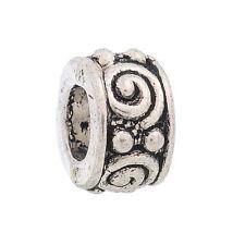 50PCs Silver Tone Swirl Eye Tube Spacers Beads Fit Charm Bracelet 8x5mm