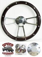 "1970-1976 Torino Gran Torino Thunderbird steering wheel 14"" MAHOGANY w/rivets"
