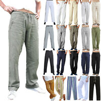 Plus Size Men Casual Linen Loose Wide Leg Pants Holiday Yoga Gym Long Trousers