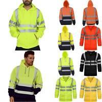 Men Hi Viz High Visibility Reflective Hoodie Jacket Coat Sweatshirts Safety Work