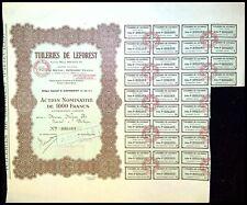 Tuileries de LEFOREST Pas de Calais action de 1000 Frs 1930  - N°000483