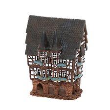 Keramik Teelichthaus Lichterhaus Fachwerkhaus mit 2 Türmen farbig 13 cm 40548