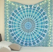 Indian decor cotton peacock mandala tapestry hippie bedding bedspread king size
