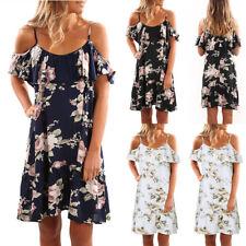 UK Women Holiday Floral Dresses Ladies Off Shoulder Summer Beach Dress Size 6-20