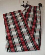 Men's Polo Sleep Pants PJ bottoms white red logo Plaid pony S small P501HR