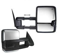 For 14-18 GM Silverado Sierra Chrome Tow Mirror Power Heated Smoke LED Signal