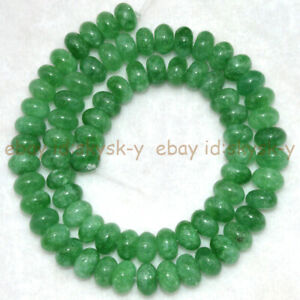 Green Emerald 5x8mm Smooth Natural Rondelle Gemstone Loose Beads 15'' Strand