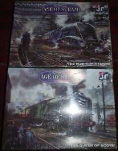 SUPERB 2 J R AGE OF STEAM QUEEN OF SCOTS & FLYING SCOTSMAN 500 PC PUZZLES SEALED