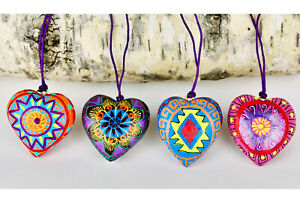 4 Oaxacan Wood Carving Heart Ornaments, Alebrijes, Mexican Folk Art, Oaxaca