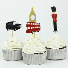 24pcs London Icons Big Ben Beefeater Red Bus Cupcake Toppers Kids Birthday Party