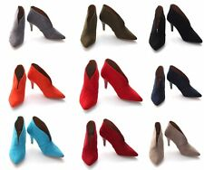 Womens Ladies Mid Block Heel Pointed Toe Uk Stock uk 3-8