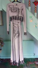 RARE Save la reine gris à bretelles Maxi robe à manches longues Wrap Jacket XL 12 14 16