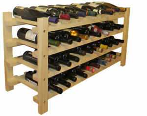 Sturdy 40 Bottles Wine Rack Stackable Storage Shelves Stand, Pine Wood
