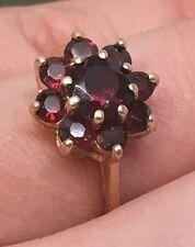 14K Yellow Gold Natural Garnet Cluster Ring