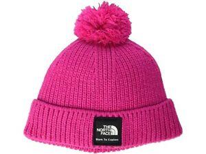 New Baby THE NORTH FACE Pink Box Logo Pom Knit Beanie Size XXS(0-6M)