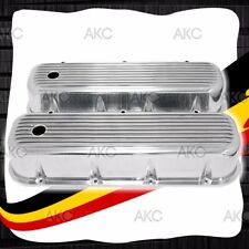 FINNED POLISHED ALUMINUM TALL VALVE COVERS FOR 65-95 CHEVY BB 396 427 454 502