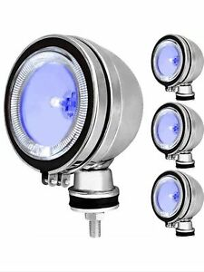 "4X 6"" BLUE H3 Angel Eye Halogen Spotlights Spot Fog Light For Car Van Truck Boat"
