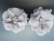 "2 Girls/Ladies light Silver Grey  2""  Flower.Voile Hair Clip pearl diamante"