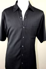 Land's End Silk Camp Shirt Large Black Short Sleeve Button Down Striped 16 1/2""
