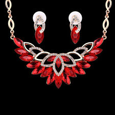 Elegant Womens Jewelry Set Red Gemstone Crystal Necklace Earrings Set Gold