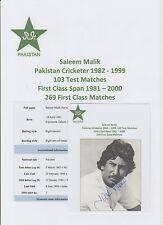 SALEEM MALIK PAKISTAN CRICKETER 1982-1999 ORIGINAL HAND SIGNED PICTURE CUTTING