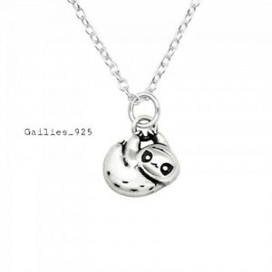 Childrens Girls 925 Sterling Silver Sloth Necklace - Gift Pouch