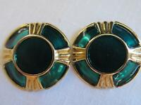 """Pretty Vintage Green Lucite & Gold Tone Clip Earrings 1"""""""