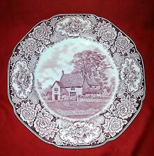 "Royal Ducal Colonial Times Pink 10 1/2"" Dinner Plate - Washington Ancestral Home"