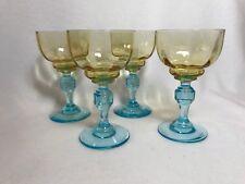 Antique George Sand Art Glass Liqueur Cordial Faceted Stem In Amber & Blue Stem