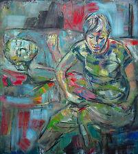 Heiko Pippig *1951 Leipziger Schule: Vorleserin und Ruhender Acryl 165 x 145 cm