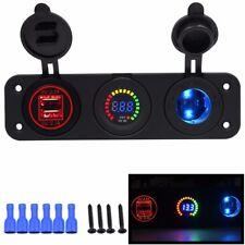 3 way car USB 12v meter & cigarette lighter dash fitting sockets latest design