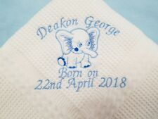 Personalised embroidered shawl with the elephant and a name and date