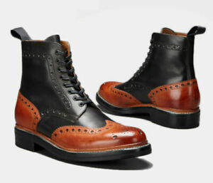 Men Handmade Boots Ankle Black Brown Leather Two Tone Wing Tip Brogue Shoes New