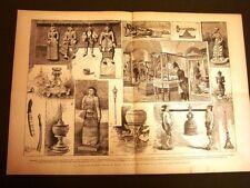Stampa enorme Museo etnografico di Roma nel 1887 Collezione Birmana di Birmania