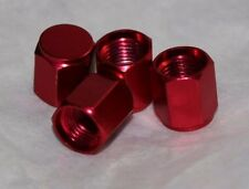 Anodized Aluminum Alloy Valve Stem Cap 4 pack Set RED Hex Dress Up Kit NEW