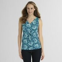 Basic Editions Womens Tank Top Paisley Teal Green Blue Sleeveless Tie Drawstring