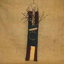 God Bless America Americana Cloth Wall Pocket w/ Berries & Rusty Stars