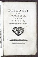 Settecentina - F. Cassoli - Discorsi d'un pappagallo, e d'una gazza - 1775 RARO