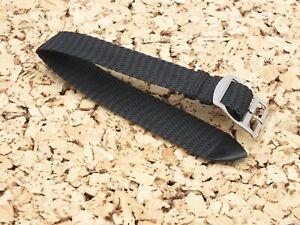 24mm Perlon Woven Nylon Panama Weave one piece Watch Band Strap Black