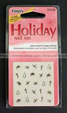 FING'RS Stick-On Decals HOLIDAY Nail Art Stickers SANTA+SNOWMAN+CANDY CANE 31038