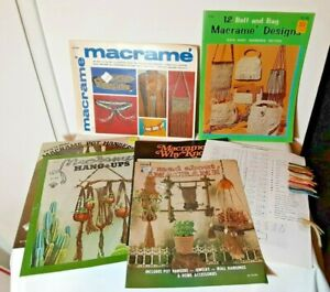 1970's Vintage set Macrame book lot Belt Bag Knot Jewelry Pot Hanger Patterns