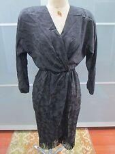Vintage Junnie Leigh 100% Silk Rose Print Fringe Detail Dress Size 4