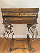 Antique Silverware / Flatware Chest with Metal Legs and Charles Motte Lithograph