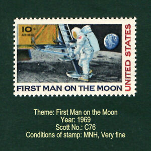 """U.S. STAMP - 1969 """"First Man on the Moon"""" stamp. Mint. Never hinged. Very fine."""