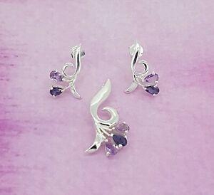 925 Silver Amethyst gemstone earrings & pendant set