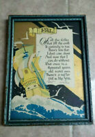 "VINTAGE 1926 BUZZA MOTTO Framed Print ""Pal"" J. P. McEVOY poem 5.5""X7.5"""