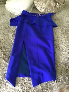 BNWOT Sheike, Cobalt Blue, High Waisted, Belted, Pencil Midi Skirt, 14, Large