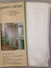 72'X72' Vintage Solid White Bathroom Shower Curtain Set w/ Vinyl Liner Plastic!