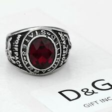 DG Men Silver Stainless Steel,US Army Military Red Ruby CZ Ring 8.9,10,11,12,Box