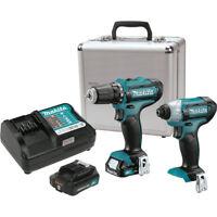 "Makita 2 Tool 12V MAX CXT 1/4"" Hex Impact Driver & 3/8"" Drill Combo Kit #CT226RX"